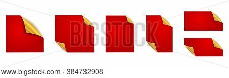 Set Of Red Stickers. Red Square Stickers. Vector Mockups. Red Stickers Isolated