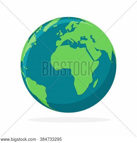 Earth Globe Icon Isolated. World Map Icon. Color Hemisphere Of Earth. Vector Illustration.