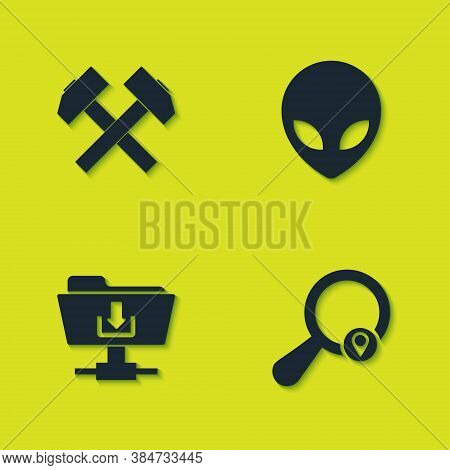 Set Two Crossed Hammers, Search Location, Ftp Folder Download And Alien Icon. Vector