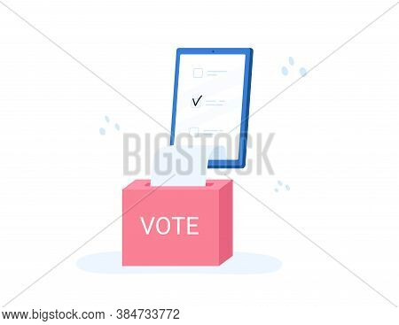 Voting Online, E-voting, Election Internet System, Survey. Concept Of Online Choices With Box And Bu