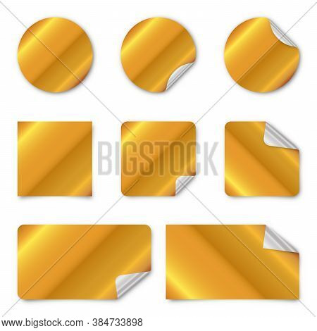 Set Of Gold Paper Stickers. Vector Illustration. Blank Paper Banners With Shadow. Gold Paper Sticker