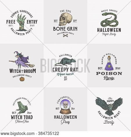 Vintage Style Halloween Logos Or Labels Template Set. Hand Drawn Witch, Scull, Zombie Arm, Rat, Fort