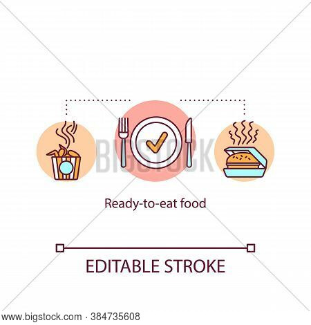 Ready To Eat Food Concept Icon. Fast Food Burger, Sandwich, Chicken. Meals Delivery Idea Thin Line I