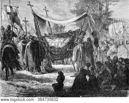 Funeral of Saint Louis, Vintage engraving. From Popular France, 1869.