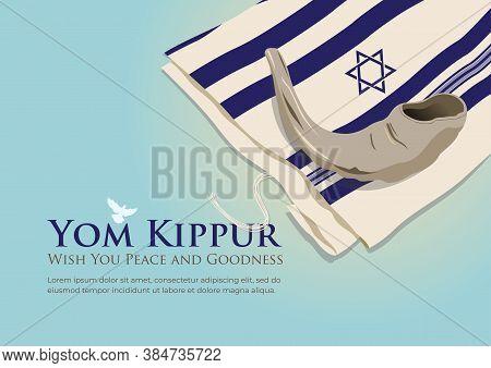 An Illustration Of White Prayer Shawl - Tallit, And Shofar (horn). Jewish Religious Symbols