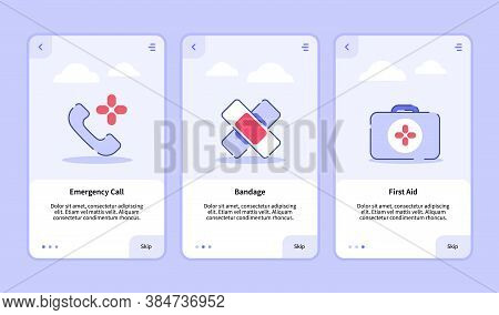 Medical Icon Emergency Call Bandage First Aid Onboarding Screen For Mobile Apps Template Banner Page