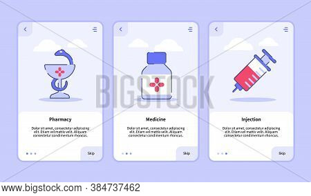 Medical Icon Pharmacy Medicine Injection Onboarding Screen For Mobile Apps Template Banner Page Ui W