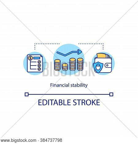 Financial Stability Concept Icon. Saving Money Budget Idea Thin Line Illustration. Purse And Coins.