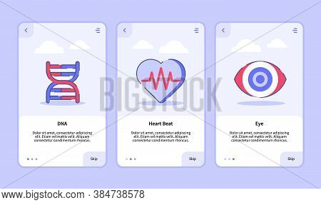 Medical Icon Dna Heart Beat Eye Onboarding Screen For Mobile Apps Template Banner Page Ui With Three