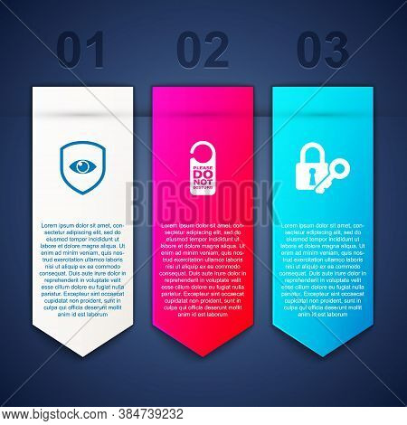 Set Shield And Eye, Please Do Not Disturb And Lock Key. Business Infographic Template. Vector