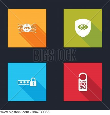 Set Vpn With Microchip Circuit, Shield And Eye, Password Protection And Please Do Not Disturb Icon.