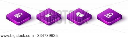 Set Isometric Lock, Please Do Not Disturb, Heart With Keyhole And Password Protection Icon. Vector