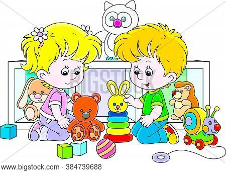 Happy Small Children Playing With Their Colorful Toys In A Nursery, Vector Cartoon Illustration On A