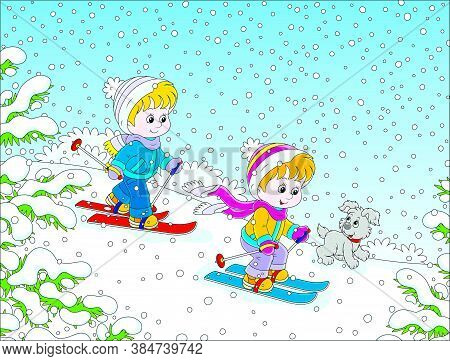 Small Children Skiing Down A Snow Hill In A Snow-covered Winter Park, Vector Cartoon Illustration