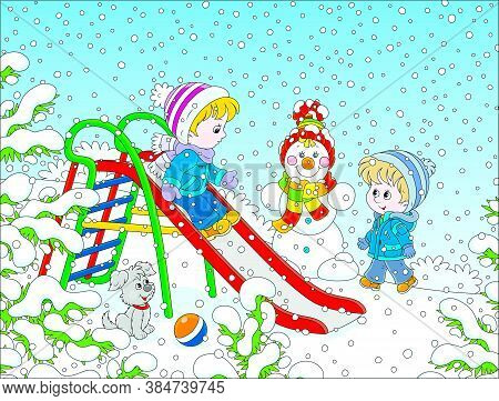 Kids Playing On A Toy Slide On A Snow-covered Playground In A Winter Park On A Snowy Day, Vector Car