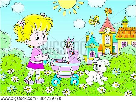 Little Girl Walking With Her Toy Baby Buggy And A Small Puppy In A Park Of A Town On A Sunny Summer