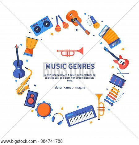 Music Genres - Colorful Flat Design Style Banner