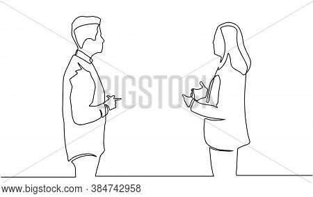 Business Discussion Of Man And Woman Continuous Line Drawing One Lineart Design Minimalist Vector Il