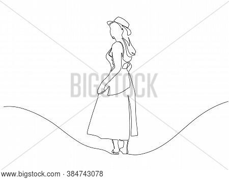 Silhouette Of A Woman In A Dress One Line Drawing On White Isolated Background. Vector Illustration.