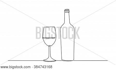 Wine One Line Sketch. Wineglass Outline Vector Icon. Continuous One Line Drawn A Bottle Of Wine And