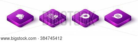 Set Isometric House Service, Interesting Facts, Hashtag Speech Bubble And Speech Chat Icon. Vector
