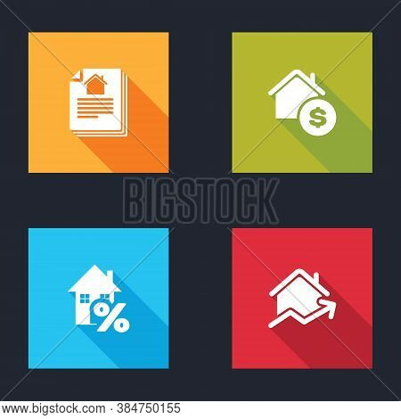 Set House Contract, With Dollar, Percant And Rising Cost Of Housing Icon. Vector