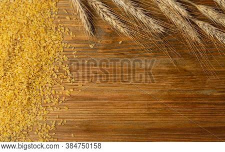 Bulgur, Bulgour Or Bulghur Grains Texture Background