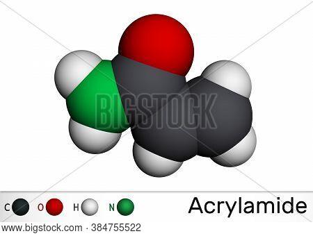 Acrylamide, Acr, Acrylic Amide Molecule. It Is As A Precursor To Polyacrylamides. Molecular Model. 3