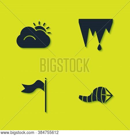 Set Sun And Cloud, Cone Meteorology Windsock Wind Vane, Meteorology And Icicle Icon. Vector