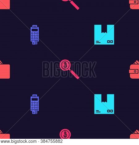 Set Cardboard Box With Traffic Symbol, Pos Terminal Credit Card, Magnifying Glass And Dollar And Wal