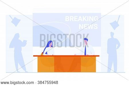 News Anchors On Breaking News Background. Presenter, Journalists, Partners Flat Vector Illustration.