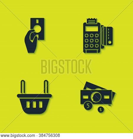 Set Hand Holding Money, Stacks Paper Cash, Shopping Basket And Pos Terminal With Credit Card Icon. V