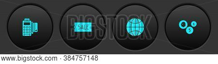 Set Pos Terminal With Credit Card, Price Tag Text Sale, Worldwide And Coin Money Icon. Vector