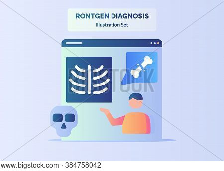 Rontgen Diagnosis People Skull Fracture Bone Bronchial Orthopedic With Flat Color Style