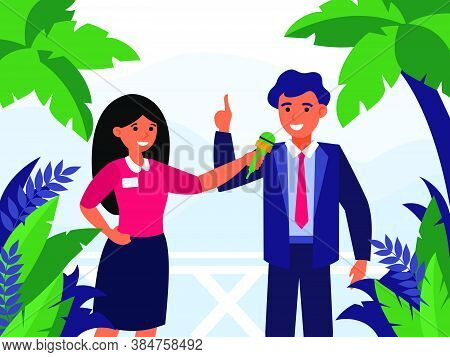 Newscaster Interviewing Politician Outdoors. Reporters, Journalist, Landscape Flat Vector Illustrati