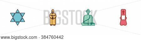 Set Star Of David, Monk, Buddhist Monk And Priest Icon. Vector