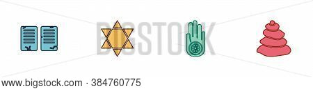 Set The Commandments, Star Of David, Jainism Or Jain Dharma And Stack Hot Stones Icon. Vector