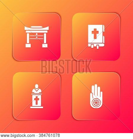 Set Japan Gate, Holy Bible Book, Church Pastor Preaching And Jainism Jain Dharma Icon. Vector