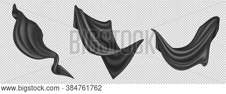 Flying Black Silk Fabric Isolated On White Background. Vector Realistic Set Of Billowing Velvet Clot