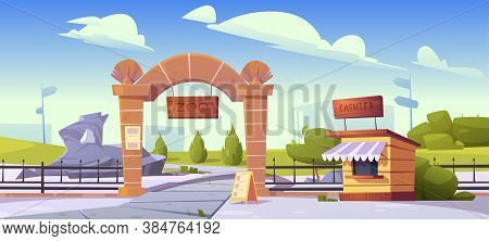 Zoo Entrance With Wooden Board On Stone Arch And Cashier Booth. Zoological Garden For Wild Animals.