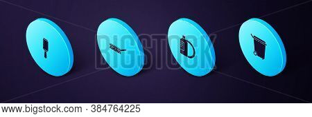 Set Isometric Trash Can, Dishwashing Liquid Bottle And Plate, Brush For Cleaning And Adhesive Roller