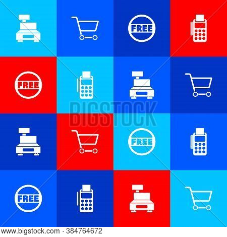 Set Cash Register Machine, Shopping Cart, Price Tag With Free And Pos Terminal Credit Card Icon. Vec