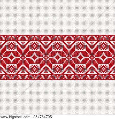 Vector White-red-white Flag, Symbol Of Freedom Belarus With National Belarus Ornament. Slavic Ethnic