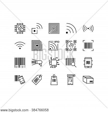 Set Of Qr Code, Barecode Vector Line Icons. Contains Icons Such As Wireless Rfid Chip And Radio-freq
