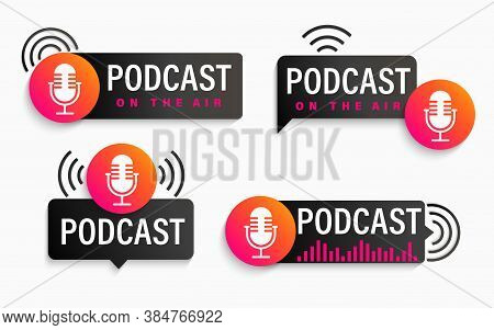 Set Podcast Logos And Symbols, Icons With Studio Microphone. Emblems For Broadcast, News And Radio S