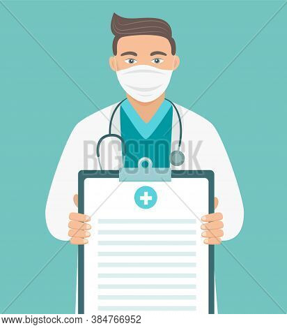 Doctor In Medical Mask With Stethoscope Holding A Clipboard. Dr Showing Blank To Write On It Your Pe