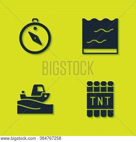 Set Compass, Detonate Dynamite Bomb Stick, Fishing Boat Water And Aquarium Icon. Vector