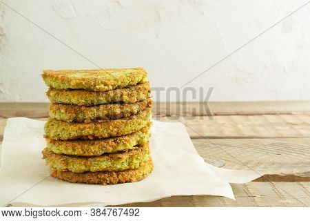 A Stack Of Veggie Burgers With Chickpeas And Vegetables. Vegetarian Food Concept. Copy Space.