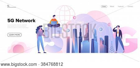 Web Page Template For A 5g Network Concept In City Environment With Diverse People Using Fast Cellul