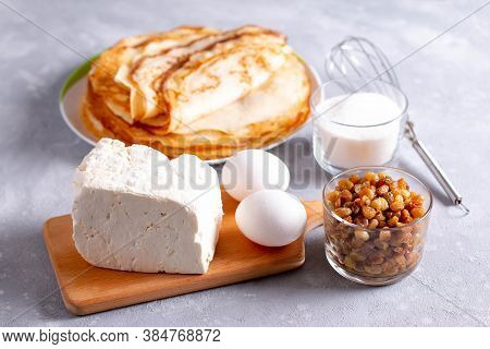Products For Cooking Pancakes With Cottage Cheese. Eggs, Cottage Cheese, Sugar And Pancakes For Cook